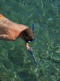 Diver in action on green blue sea. Diver with diving mask and harpoon in sea Stock Photography