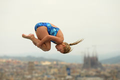 Diver in Barcelona Competition. Diving athlete in action during a competition  of Barcelona diving trophy at Monjuich swimming pool July 24, 2011 in Barcelona Stock Photography