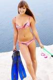 Diver in bikini Stock Image
