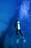 Diver in the blue sea Royalty Free Stock Image