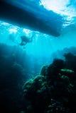Diver blue water scuba diving bunaken indonesia sea reef ocean Royalty Free Stock Image