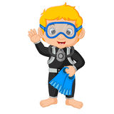 Diver boy cartoon Stock Photo