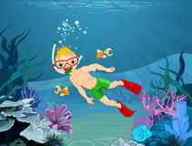 Diver Boy. Illustration of cute diver boy Royalty Free Stock Image