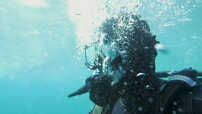 Diver Breathing Under the Water stock video footage