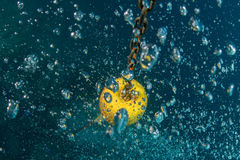 Diver bubbles near boat rope underwater Royalty Free Stock Photography