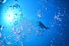 Diver and Bubbles Stock Images