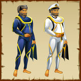 Diver and captain of the ship Royalty Free Stock Image