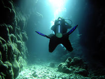 Diver in the cave Stock Photography