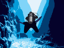 Diver in the cave. Diver in the cave and sunlight royalty free illustration
