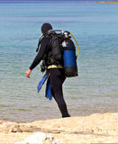 Diver at Chalkidiki in Greece Royalty Free Stock Images