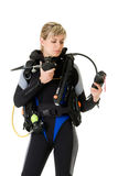 Diver checking pressure Stock Images