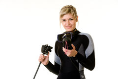 Diver checking pressure Royalty Free Stock Image
