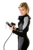 Diver checking pressure. Diver cheking pressure by manometer before dive Stock Photography