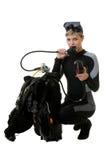 Diver checking pressure Stock Image