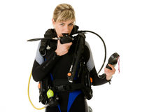 Diver checking pressure Stock Photography