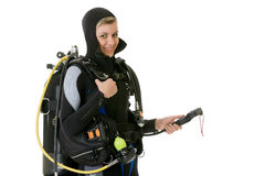 Diver checking pressure Royalty Free Stock Photos