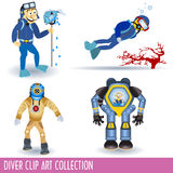 Diver clip art collection. Clip art collection of four different divers in different situations Royalty Free Stock Photo