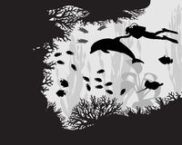 Diver in coral reef Stock Photos