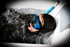Diver in a crazy immersion Stock Photos