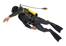 Diver. 3D digital render of a male diver isolated on white background Stock Photo