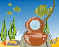 Diver on day of the ocean. Vector illustration stock illustration