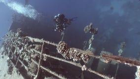 Diver on deck of sunken ship Salem Express. stock footage