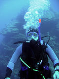 Diver in deep. And bubble royalty free stock photos