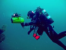 Diver, deep diving Royalty Free Stock Photography