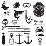 Diver design elements. Diver weapon, diver helmet, equipment for Stock Photography