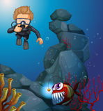 Diver diving in deep blue sea. Illustration Stock Photo