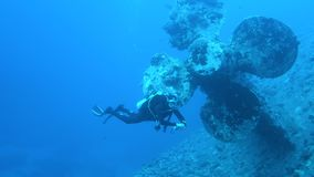 Ship wreck Salem Express. Diver explores ship wreck Salem Express on seabed underwater in Red Sea, Egypt. Full HD underwater footage stock video