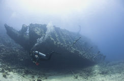 Diver exploring a large shipwreck Royalty Free Stock Images