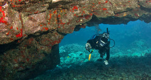 Diver exploring a Lava Arch in Hawaii Royalty Free Stock Photos