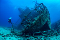 Diver exploring Red Sea wreck Stock Photo