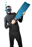 Diver with flipper indoor white background Royalty Free Stock Images