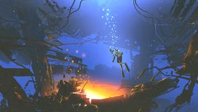 Diver found a mysterious light while diving. Fantasy underwater scene of diver found a mysterious light while diving, digital art style, illustration painting Stock Photos