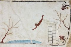 Lucanian fresco tomb painting. Paestum. Salerno. Campania. Italy. The diver. Fresco from an ancient tomb. Paestum. Salerno. Campania. Italy stock photo