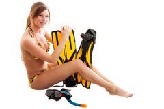 Diver girl. In a leopard swimsuit Royalty Free Stock Photography