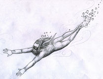 Diver girl pencil sketch Royalty Free Stock Photography