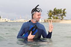 Diver giving a peace sign after an immersion.  royalty free stock images