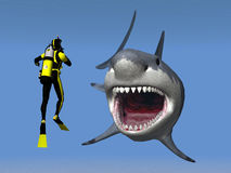 Diver and Great White Shark Royalty Free Stock Photo