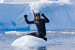 Diver on the ice stock photography