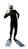 Diver indoor victory gesture Royalty Free Stock Photo