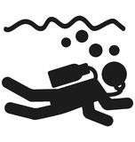 Diver Isolated Vector Icon use for Travel and Tour Projects royalty free illustration