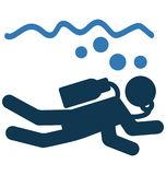 Diver Isolated Vector Icon use for Travel and Tour Projects stock illustration
