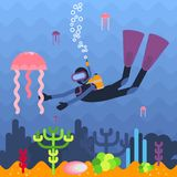 Diver and jellyfish Stock Photos