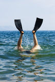 Diver jump to the whater. With flippers on his legs Royalty Free Stock Image