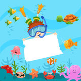 Diver kid with blank paper Stock Photos