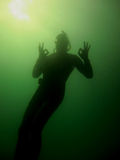 Diver and ok sign Royalty Free Stock Images