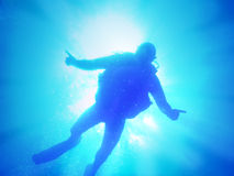 Diver in light Royalty Free Stock Photography